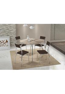 Mesa 1504 Nogueira Cromada Com 4 Cadeiras 1701 Cacau Carraro