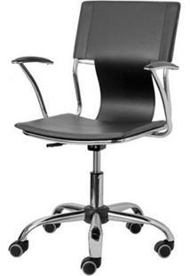 Cadeira Escritorio P-022 Preta Cromada - 4806 - Sun House