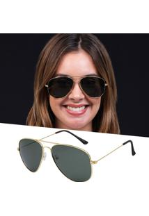 Óculos De Sol Aviador Feminino Lente G15 Dourado
