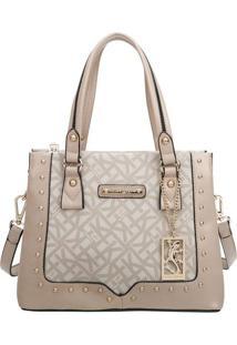 Bolsa Shopper Com Bag Charm- Nude & Bege Claro- 22X2Fellipe Krein