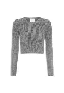 Blusa Feminina Tricot Lurex - Prata