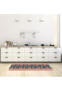 Tapete De Cozinha Mdecore Cactos Marrom 40X120Cm
