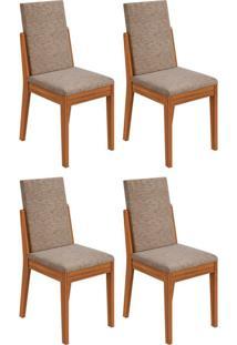 Conjunto Com 4 Cadeiras Lira Ll Rovere E Bege