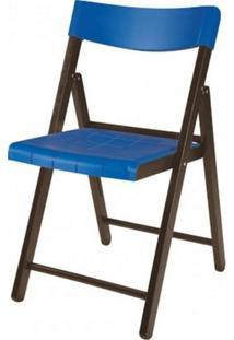 Cadeira Potenza Dobravel Tabaco Com Plastico Azul