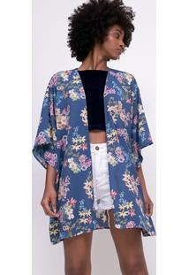 Kimono Alongado Floral Manga 3/4