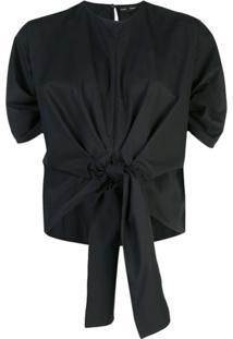 Proenza Schouler Blusa De Algodão Com Amarração - Preto