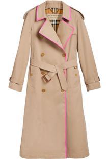 Burberry Trench Coat Com Vivo Rosa - Neutro