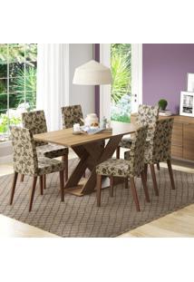 Conjunto De Mesa Com 6 Cadeiras Vermont Rústico E Floral