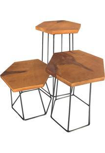 Conjunto Com 3 Banquinhos Hexa Escada – Oficina Barnello - Preto