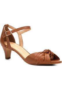 Sandália Couro Shoestock Salto Grosso Nó Feminina - Feminino-Caramelo