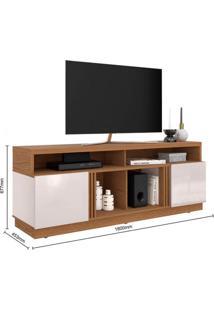 Rack Bancada Para Tv Até 75 Polegadas 2 Portas 4 Nichos Itapuã Colibri Natura Real/Off White