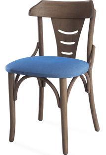 Cadeira De Madeira Tipo Restaurante Estofada Augustine - Stain Nogueira - Tec.930 Azul Claro - 45X50,5X83 Cm