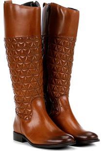 Bota Couro Montaria Shoestock Matelassê Feminina - Feminino-Marrom