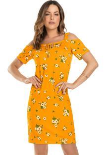 Vestido Curto Florido Amarelo