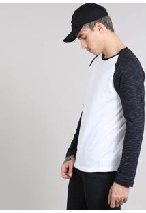 Camiseta Masculina Raglan Gola Careca Manga Longa Flamê Branca