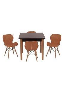 Conjunto Mesa De Jantar Luiza 80Cm Preta Com 4 Cadeiras Slim - Marrom