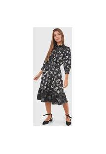 Vestido Polo Ralph Lauren Midi Floral Preta