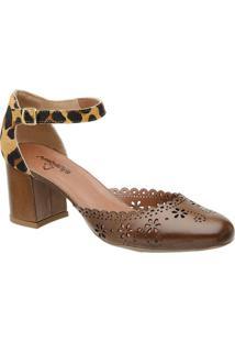 Sapato Tradicional Em Couro Animal Print- Marrom Claro &Mr. Cat