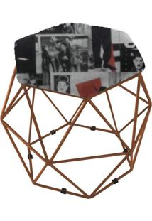 Puff Aramado Bronze Assento Hexagonal Suede Charlie Chaplin Vintage - Ds Móveis