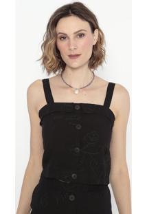 Blusa Cropped Com Bordados- Preta- Shirley Dantasshirley Dantas