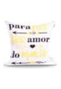 Capa De Almofada Amor Frase Estampada Amarela 45Cm X 45Cm Com Zíper