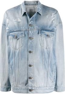 Givenchy Jaqueta Jeans Oversized Destroyed Com Logo - Azul