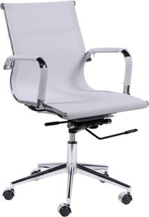 Cadeira Office Eames- Branca & Prateada- 88,5X47X61Cor Design