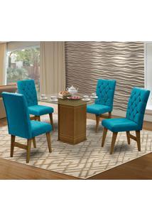 Mesa Para Sala De Jantar Saint Louis Com 4 Cadeiras – Dobuê Movelaria - Mell / Turquesa