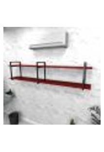 Estante Industrial Escritório Aço Cor Preto 180X30X40Cm Cxlxa Cor Mdf Vermelho Modelo Ind39Vres
