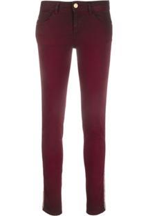 Just Cavalli Calça Jeans Skinny Com Listra Lateral De Cobra - Vermelho