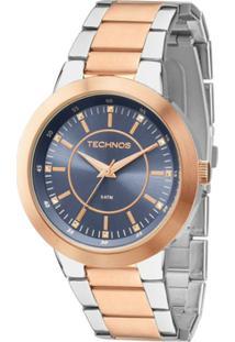 Relógio Feminino Technos Ladies 2035Mfg/5A 40Mm Bicolor Prata/Rosê - Feminino