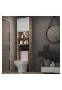 Armário Banheiro Para Vaso Sanitário Com Led E 2 Portas Multimóveis Rustic/Branco
