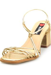 Sandália Salto Bloco Love Shoes Tiras Delicadas Amarração Dourado