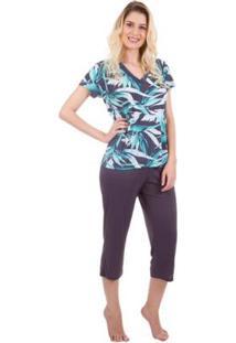 Pijama Feminino Capri Com Estampa De Folhagem Inspirate - Feminino-Verde Claro+Cinza