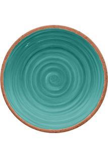 Prato Para Sobremesa Rústico- Azul & Marrom- Ø22Cmhudson