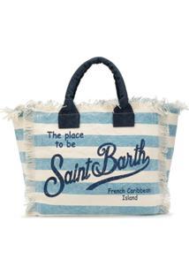 Mc2 Saint Barth Bolsa Listrada Com Logo Estampado - Azul