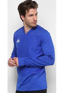 Blusa Adidas Treino Condivo 18 Manga Longa Masculina - Masculino-Azul+Branco