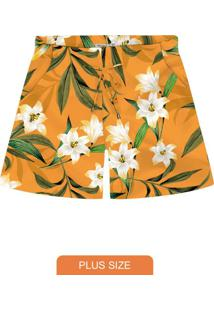 Shorts Feminino Plus Size Amarelo