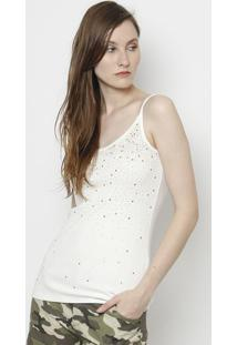 Blusa Canelada Com Termocolantes- Branca- Moisellemoisele