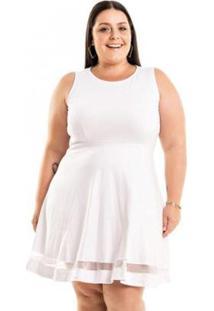 Vestido Ponto Roma Godê Com Barra Em Tule Miss Masy Plus Size Feminino - Feminino-Branco