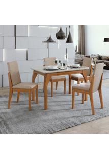 Conjunto De Mesa De Jantar Saara Com 4 Cadeiras Lira Velvet Off White E Bege