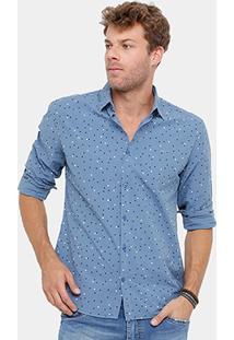 Camisa Colcci Tricoline Poá Masculina - Masculino