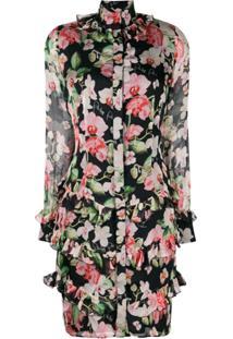 Philipp Plein Floral Print Short Dress - Preto