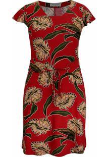 Vestido Pau A Pique Estampado Manga Evasê Vermelho