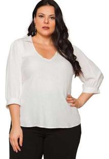Blusa Almaria Plus Size Pianeta Devorê Off White Branco