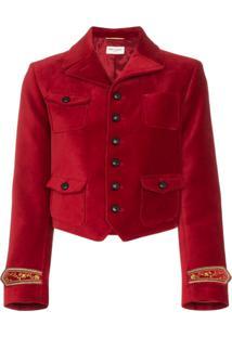 Saint Laurent Jaqueta Cropped Com Bordado Nos Punhos - Vermelho