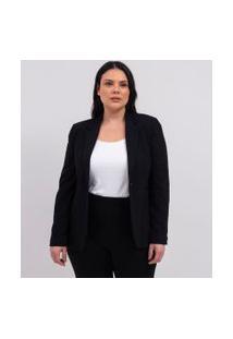 Blazer Liso Com Botão Curve & Plus Size | Ashua Curve E Plus Size | Preto | 46