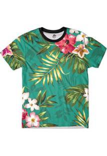 Camiseta Bsc Floral Full Print Masculina - Masculino-Verde