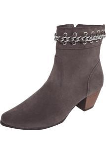 Bota Dafiti Shoes Folk Cano Curto Correntes Marrom