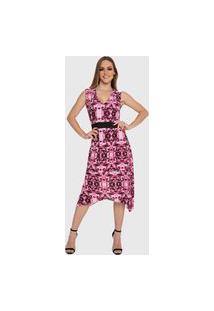 Vestido Mullet Carbella Lidia Liganete Acinturado Estampado Midi Rosa Pink